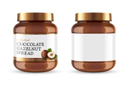 Ilustración de Chocolate spread can jar with label design in 3d illustration - Imagen libre de derechos