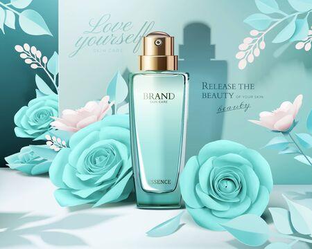 Illustration pour Elegant perfume ads with paper light blue roses decorations in 3d illustration - image libre de droit