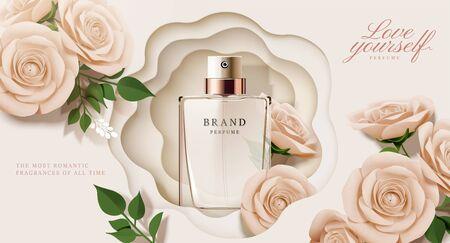 Illustration pour Elegant perfume ads with paper beige roses decorations in 3d illustration - image libre de droit