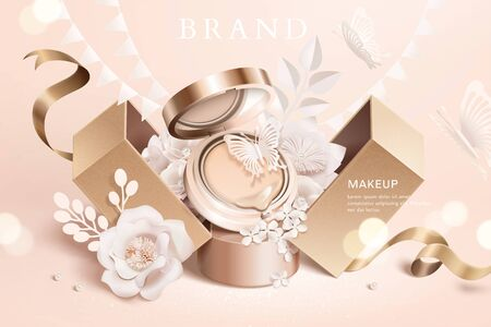 Illustration pour Foundation cushion ads with paper flowers and gift box in 3d illustration - image libre de droit