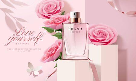 Illustration pour Elegant perfume ads with paper light pink roses decorations in 3d illustration - image libre de droit