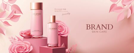 Illustration pour Pink cosmetic banner ads with product and paper roses on podium in 3d illustration - image libre de droit