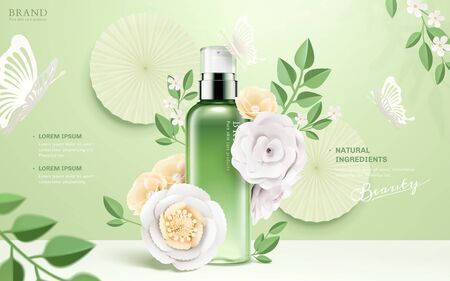 Illustration pour Cosmetic spray bottle ads with paper flowers and butterflies on green background in 3d illustration - image libre de droit
