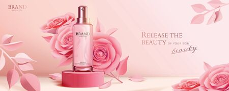 Ilustración de Spray bottle on round podium with elegant paper roses in pink, 3d illustration cosmetic ads - Imagen libre de derechos