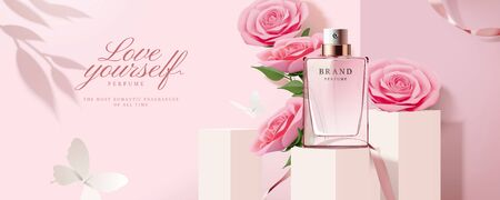 Illustration pour Elegant perfume banner ads with product on square podium and paper roses decorations in 3d illustration - image libre de droit