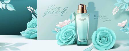Ilustración de Blue cosmetic banner ads with paper roses decorations in 3d illustration - Imagen libre de derechos