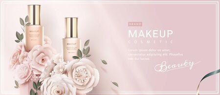 Ilustración de Foundation banner ads with paper art flowers on light pink background in 3d illustration - Imagen libre de derechos