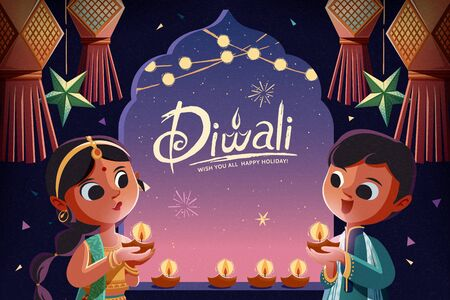 Illustration pour Diwali children holding oil lamps with hanging lanterns in the starry night background - image libre de droit