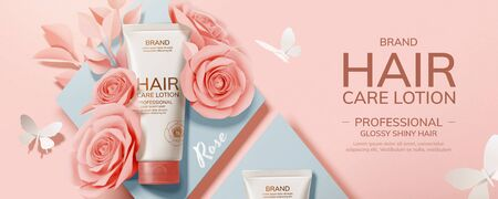 Illustration pour Flat lay hair care product with paper roses and butterfly decorations, 3d illustration cosmetic ads - image libre de droit