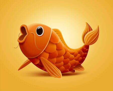 Illustration pour Lovely open mouth carp fish illustration isolated on yellow background - image libre de droit