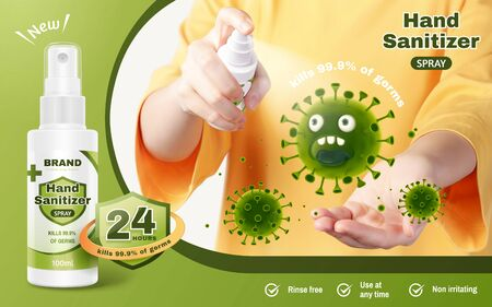 Illustration for Ad template of hand sanitizer spray, realistic young woman sanitize her hands with hand-washing spray to prevent diseases, 3d illustration - Royalty Free Image