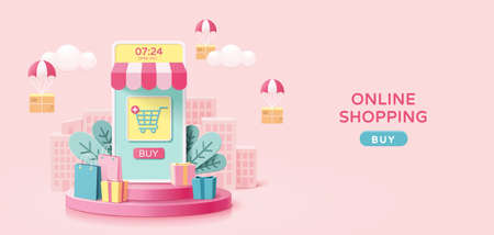 Illustration for Online shopping concept in minimal 3D illustration, with mobile phone store set on round podium - Royalty Free Image