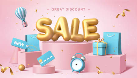 Illustration pour Sale poster in 3d pastel illustration, with cute balloon word on podium with some shopping related elements - image libre de droit