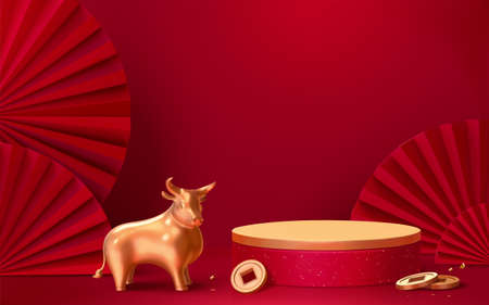 Illustration pour Asian theme product display podium with red wall, gold bull and Japanese paper fans, 3d illustration background - image libre de droit