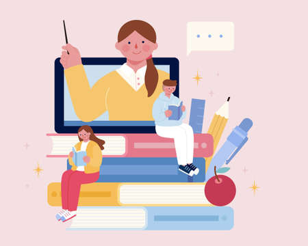 Illustration for Two young people sitting on stack of books. Teacher teaching class through tablet. Concept of online education, distance learning or tutorial videos for teens or adults. - Royalty Free Image