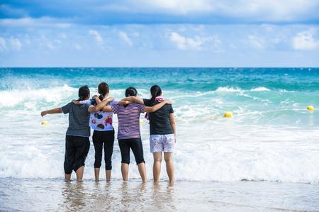 KENTING,TAIWAN - people at white sand beach