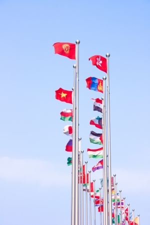 Asian countries and regions the flag