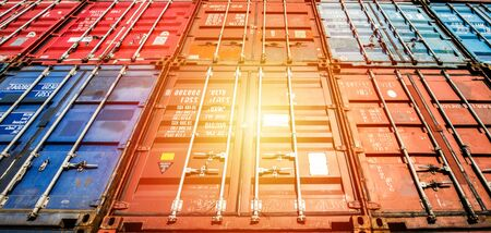 Photo for Containers box from Cargo freight ship for import export,logistic concept - Royalty Free Image