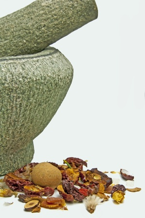 chinese herbal medicine with mortar