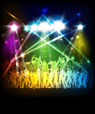 Illustration pour Abstract party sound background with dancing people - image libre de droit