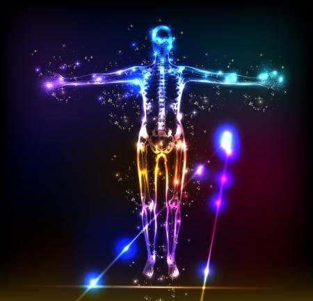 Illustration pour abstract human body background neon design - image libre de droit