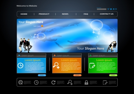 business web site template with business human