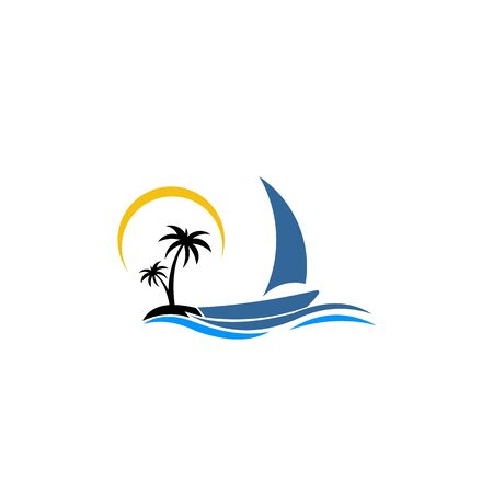 Illustration pour inspiration  logo of a boat with palm. Vector icon ship in the sea with text isolated. Round emblems for design of business, holiday, travel agency, yachting club, voyage, round trip and cruise concept. - image libre de droit