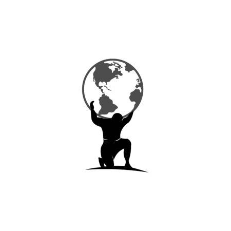 Illustration pour Atlas holding the world on his shoulder, Atlas Titan Holding Globe Vector Design - image libre de droit