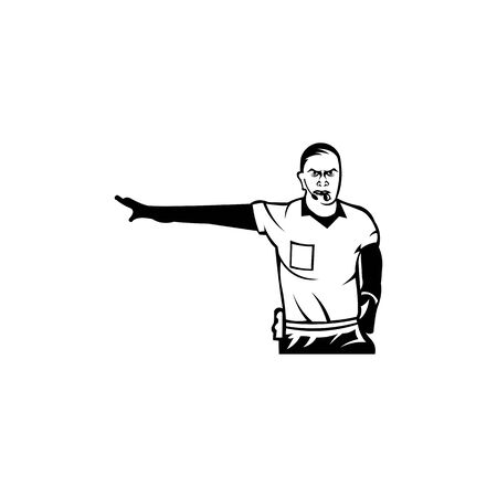Whistling soccer referee showing stopping hand during match, Sport , football arbitrator, whistle icon soccer judge, football coach, police blow.