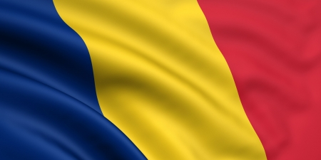 Photo pour 3d rendered and waving flag of romania / chad - image libre de droit