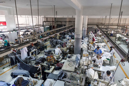 April 18,2016.TANGIER, MOROCCO:  clothing company manufactures industrial sewing machines and skilled,textile factory production machinist working in line