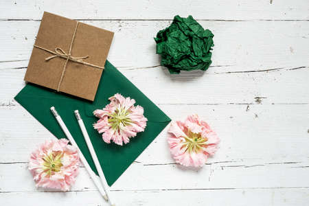 Foto de Flowers on white background. Flat lay, top view. Flowers background - Imagen libre de derechos