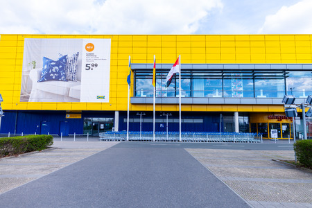 Photo pour NUREMBERG / GERMANY - APRIL 7, 2019: IKEA branch on a warehouse in Nuremberg. IKEA is a Swedish-founded multinational group that designs and sells ready-to-assemble furniture, kitchen and accessories. - image libre de droit
