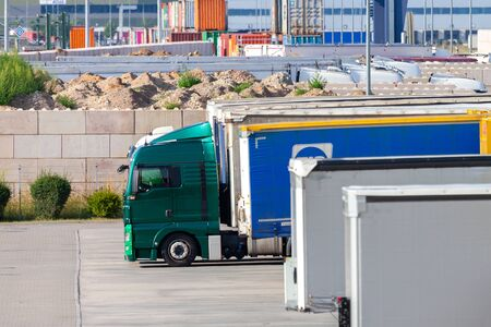 Photo for NUREMBERG / GERMANY - AUGUST 4, 2019: Freight logisitc center from international courier, parcel, and express mail company DHL in Nuremberg. - Royalty Free Image