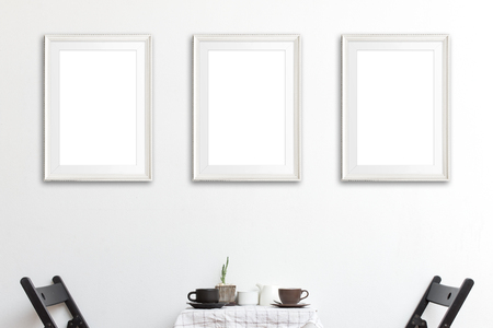 Photo pour Three mock up poster frame in coffee corner interior background. - image libre de droit