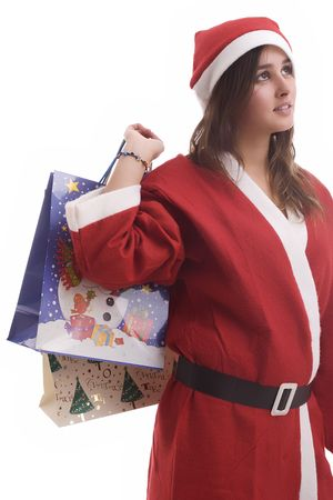 Young Santa Girl, posing isolated over white background