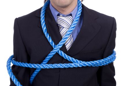 Detail of a tied business man, isolated over white