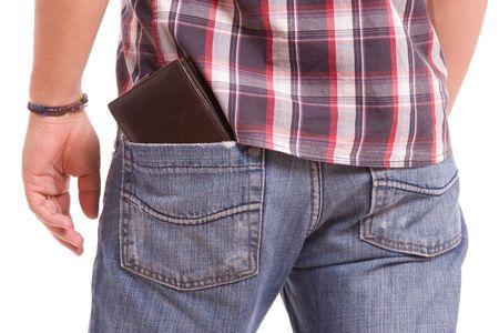 Detail of wallet in man's back pocket