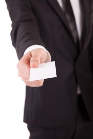 Photo pour Business man offering card - selective focus on card - image libre de droit