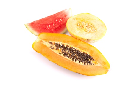 Papaya, melon and watermelon slices isolated over white