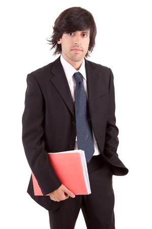 Young business man posing, isolated over white