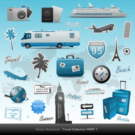 Illustration for Travel icons - Royalty Free Image