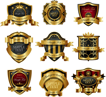 Decorative golden ornate labels