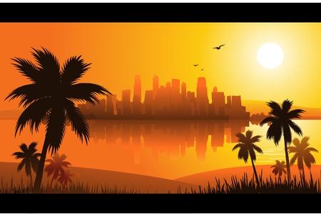 Illustration for summer sunset city - Royalty Free Image