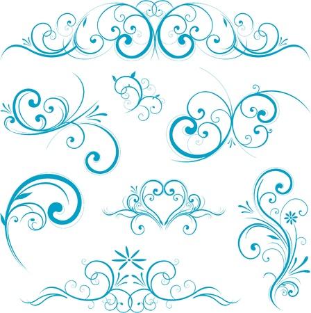 blue swirl design ornaments