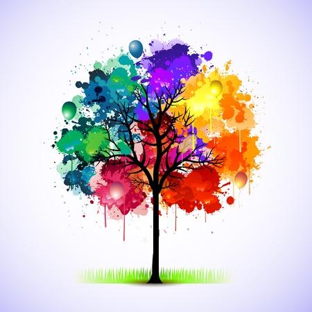 Ilustración de Paint splat tree - Imagen libre de derechos