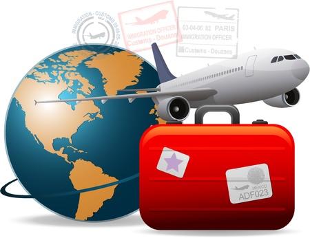 Illustration pour Travel airplane concept - image libre de droit