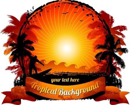 Illustration pour Orange sunset surfing beach banner - image libre de droit