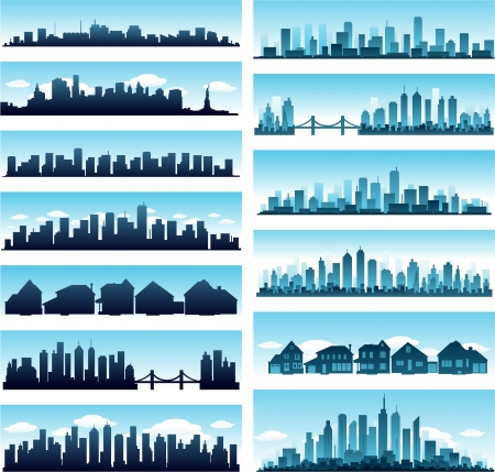 blue city skyline panoramic background collection set
