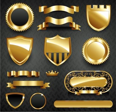 Decorative menu ornate gold frame collection set